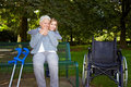 Woman embracing elderly woman oin Royalty Free Stock Photography