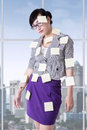 Woman with empty paper notes Royalty Free Stock Photo