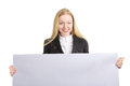 Woman with empty white board young business holding Royalty Free Stock Images