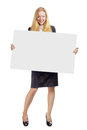 Woman with empty white board young business holding Royalty Free Stock Photos