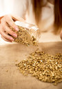 Woman emptying bullion with gold on burlap Royalty Free Stock Photo