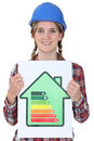 Woman with energy efficiency chart Stock Photography