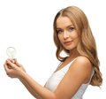 Woman with energy saving bulb picture of beautiful Royalty Free Stock Photography