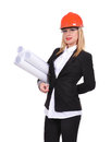 Woman engineer with blueprint in helmet isolated on white Stock Photography
