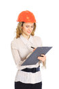 A woman engineer in helmet Royalty Free Stock Photo