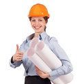 Woman engineer protective helmet drawings under his arm Stock Image