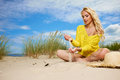 Woman enjoy sun on the beach Royalty Free Stock Photo