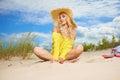 Woman enjoy sun on the beach Royalty Free Stock Photo