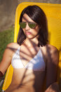 Woman enjoy in sun and shade Royalty Free Stock Photo