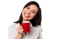 Woman enjoying coffee during work break cute chinese businesswoman her Stock Image