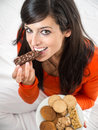 Woman enjoying delicious chocolate snack Royalty Free Stock Photography