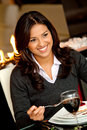 Woman enjoying dessert Stock Images