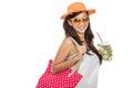 Woman enjoying fresh lime infuse water Royalty Free Stock Photo
