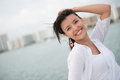 Woman enjoying her holidays summer looking very happy Royalty Free Stock Photography