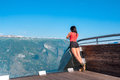 Woman enjoying scenics from Stegastein Viewpoint Royalty Free Stock Photo