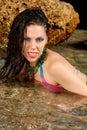 Woman enjoying a sea Stock Images