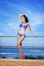 Woman enjoying the sea breeze beautiful attractive model in her bikini showing off her body in sun Stock Photo