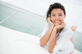 Woman enjoying the summer happy relaxing on a yacht Royalty Free Stock Photo