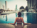 Woman enjoying a swim Royalty Free Stock Photo
