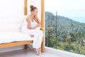 Woman enjoying tropical luxury Stock Photography