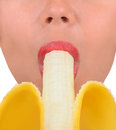 Woman enjoys a banana nice image of with Stock Photo