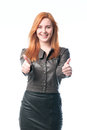 Woman enjoys a good result happy Royalty Free Stock Images