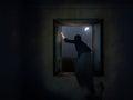 Woman escaping through window.