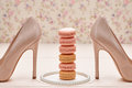 Woman essentials, fashion high heels. Macarons Royalty Free Stock Photo