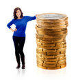 Woman with euro coins Royalty Free Stock Photo