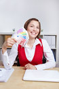 Woman with Euro money fan Royalty Free Stock Photo