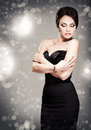 Woman in evening dress with bright makeup Royalty Free Stock Photo
