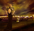 Woman Evening Dress, City Night Lights, Fashion Model Gown Royalty Free Stock Photo