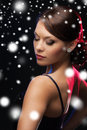 Woman in evening dress wearing diamond earrings luxury vip nightlife party christmas x mas new year s eve concept beautiful Royalty Free Stock Photo