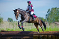 Woman eventer on horse is Drop fence in Water jump Stock Photos