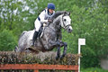 Woman eventer on horse is overcomes the fence Stock Photography
