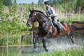Woman eventer on horse is run in Water jump Stock Image