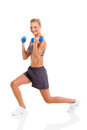 Woman exercises dumbbells young beautiful with isolated on white Stock Photos