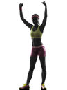 Woman exercising fitness arms raised silhouette one caucasian in on white background Royalty Free Stock Images