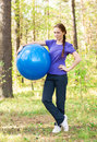 Woman exercising with fitness ball Stock Photography