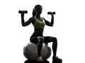 Woman exercising fitness ball weight training silhouette one on in on white background Stock Image