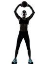 Woman exercising fitness ball workout   silhouette Royalty Free Stock Photo