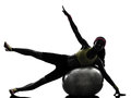 Woman exercising fitness ball workout silhouette one on in on white background Stock Photos