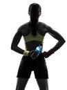 Woman exercising fitness holding energy drink rear view silhoue one in silhouette on white background Royalty Free Stock Image