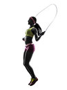 Woman exercising fitness jumping rope silhouette one in on white background Stock Photos