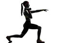 Woman exercising fitness lunges workout silhouette one in on white background Stock Photography