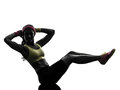 Woman exercising fitness workout crunches silhouette one arms behind head in on white background Royalty Free Stock Photo
