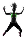 Woman exercising fitness zumba dancing jumping silhouette one caucasian in on white background Stock Image