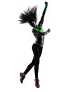 Woman exercising fitness zumba dancing jumping silhouette one caucasian in on white background Stock Images