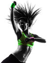 Woman exercising fitness zumba dancing silhouette one caucasian in on white background Royalty Free Stock Images