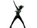 Woman exercising fitness zumba dancing silhouette one caucasian in on white background Stock Photos